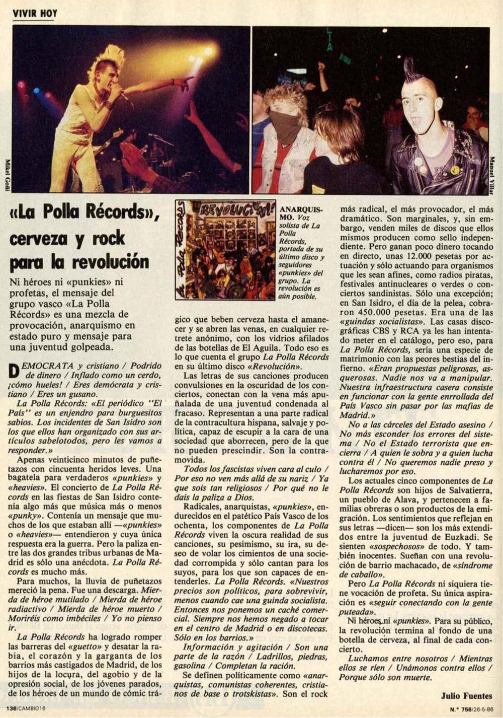 Reportaje sobre La Polla Records publicado el 26 de mayo de 1986 en Cambio 16