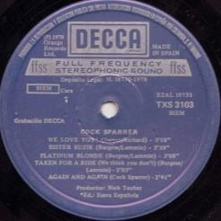 Cara A de la edición en España del primer LP de Cock Sparrer (Decca, 1978)