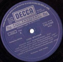 Cara B de la edición en España del primer LP de Cock Sparrer (Decca, 1978)