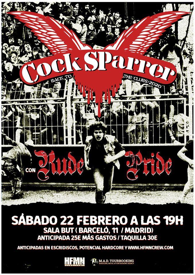 Cartel del concierto de Cock Sparrer + Rude Pride @ Sala But, Madrid, el sábado 22 de febrero de 2020