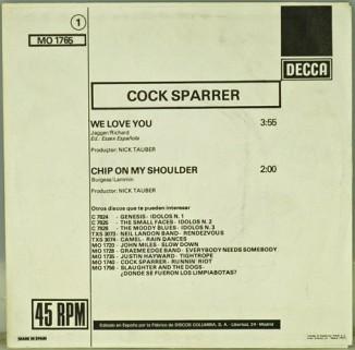 Trasera de la edición española del single We Love You de Cock Sparrer (Decca, 1977)