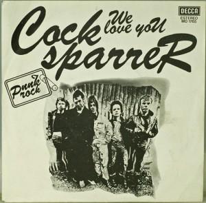 Portada de la edición española del single We Love You de Cock Sparrer (Decca, 1977)