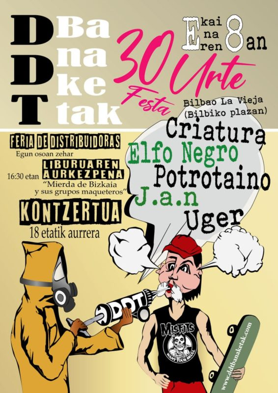 Cartel del concierto 30º aniversario de DDT con Criatura, Elfo Negro, Potrotaino, J.A.N. y Uger @ Plaza de Bilbao La Vieja el sábado 8 de junio de 2019