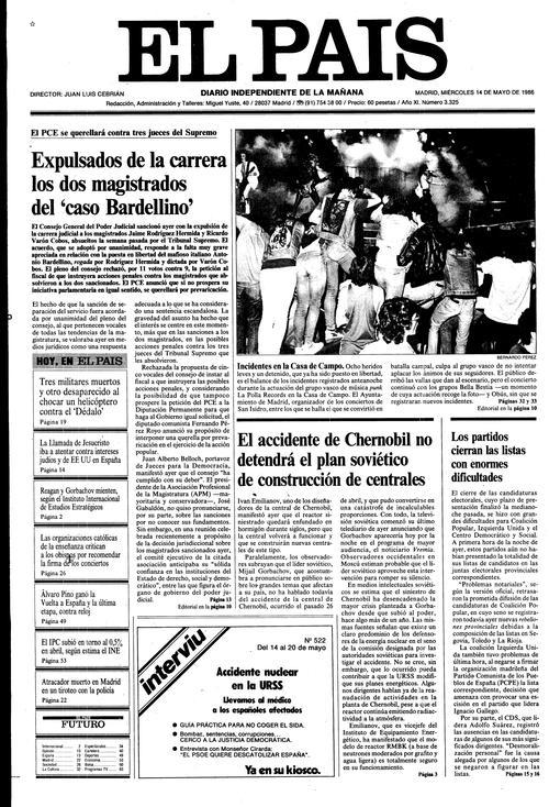 Portada del miércoles 14 de mayo de 1986 del diario El País