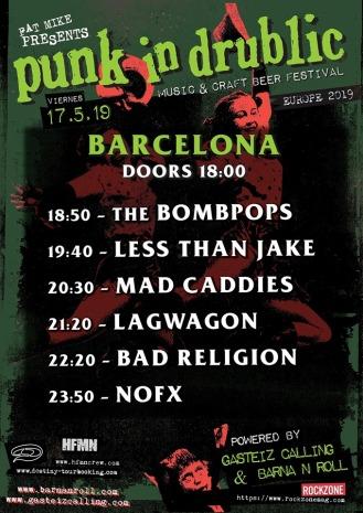 Horarios para el Punk In Drublic Festival @ Barcelona, el viernes 17 de mayo de 2019