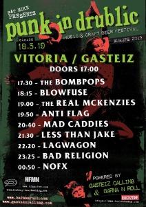 Horarios para el Punk In Drublic Festival @ Vitoria-Gasteiz, el sábado 18 de mayo de 2019