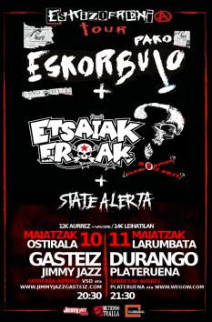 Pako Eskorbuto + Etsaiakeroak + State Alerta @ Jimmy Jazz (Vitoria-Gasteiz) y Plateruena (Durango)