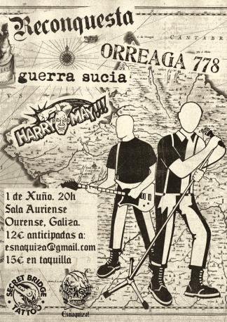 Reconquesta + Orreaga 778 + Harry May + Guerra Sucia @ Ourense, el sábado 1 de junio de 2019