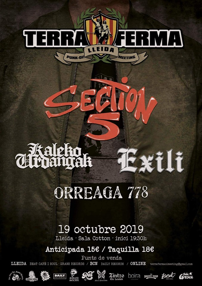 Cartel del Terra Ferma 2019 @ Sala Cotton, Lleida, con Section 5, Exili, Kaleko Urdangak y Orreaga 778