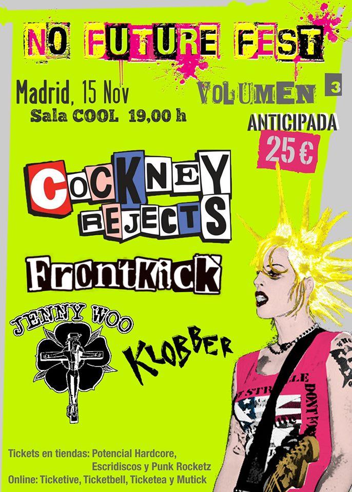 Cartel del concierto Cockney Rejects + FrontKick + Jenny Woo + Klobber @ Sala Cool, Madrid, el sábado 15 de noviembre de 2019
