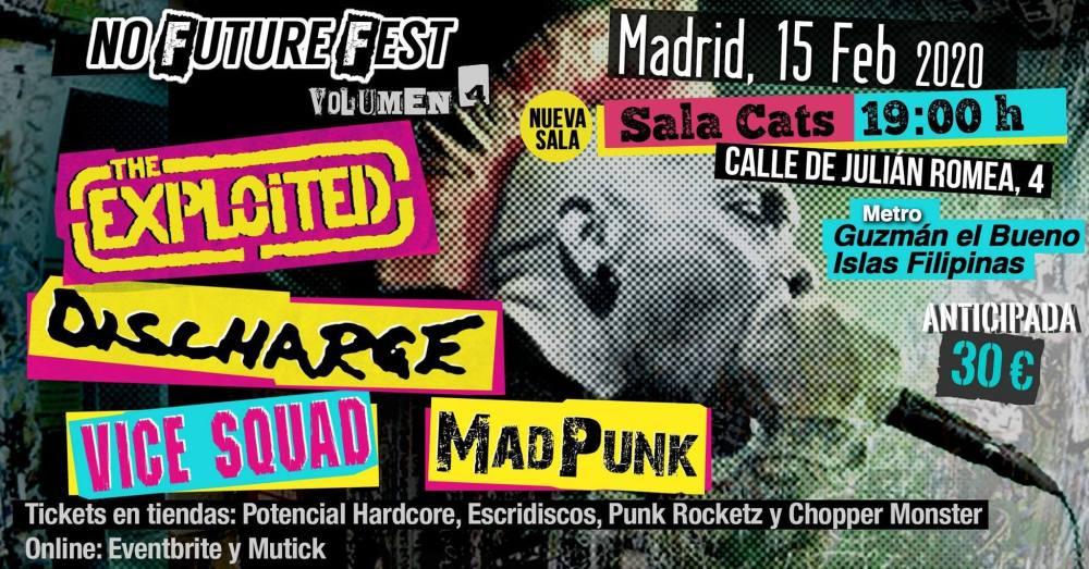 Cartel del concierto de The Exploited, Discharge, Vice Squad y MadPunk @ Sala Cats, Madrid, el sábado 15 de febrero de 2020