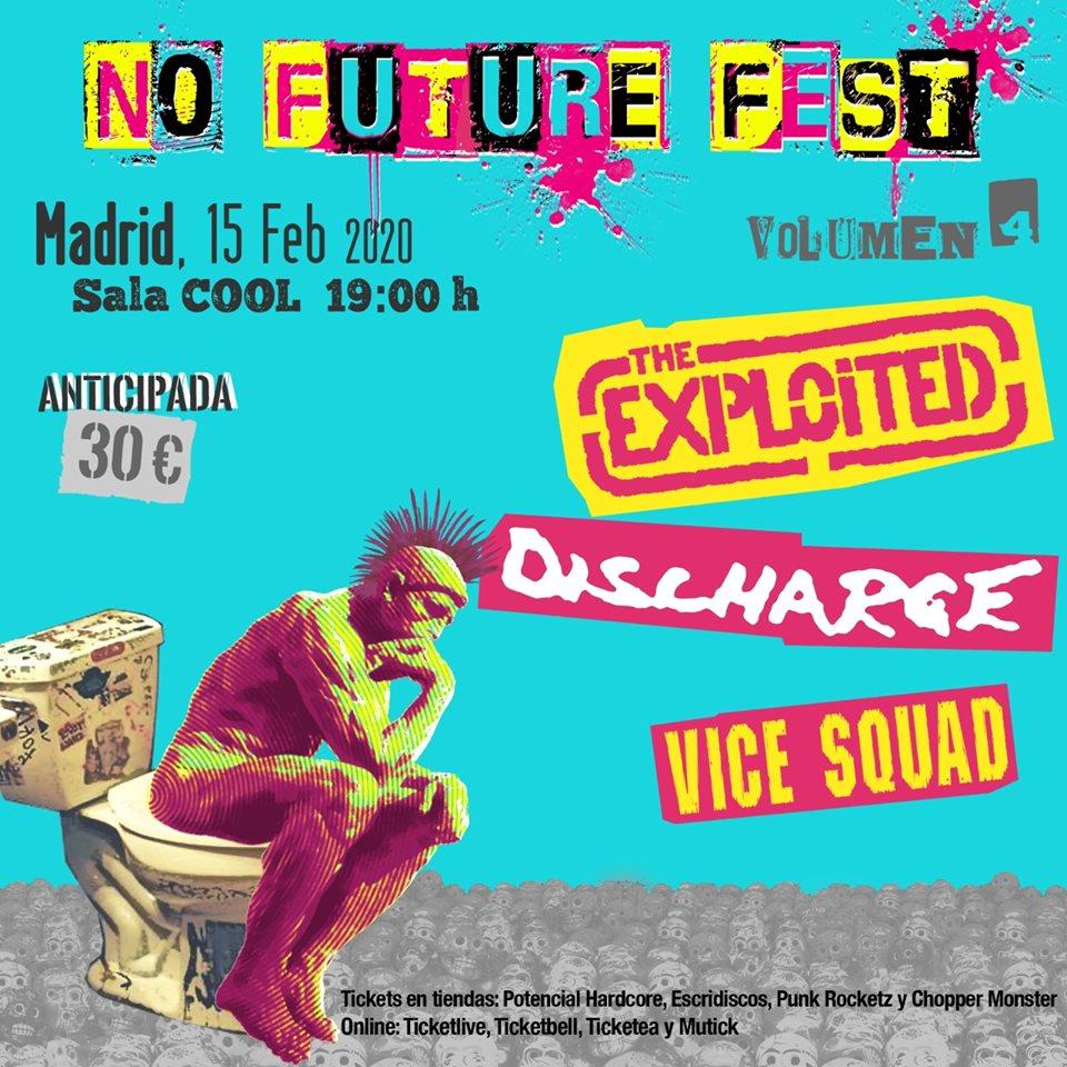Cartel del concierto de Exploited + Discharge + Vice Squad @ Sala Cool, Madrid, el sábado 15 de febrero de 2019