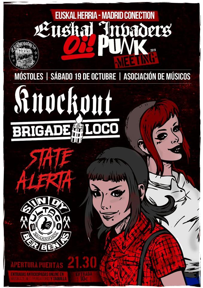 Cartel del concierto de Knockout + Brigade Loco + State Alerta + Sindy Berbenas @ Móstoles, el sábado 19 de octubre de 2019