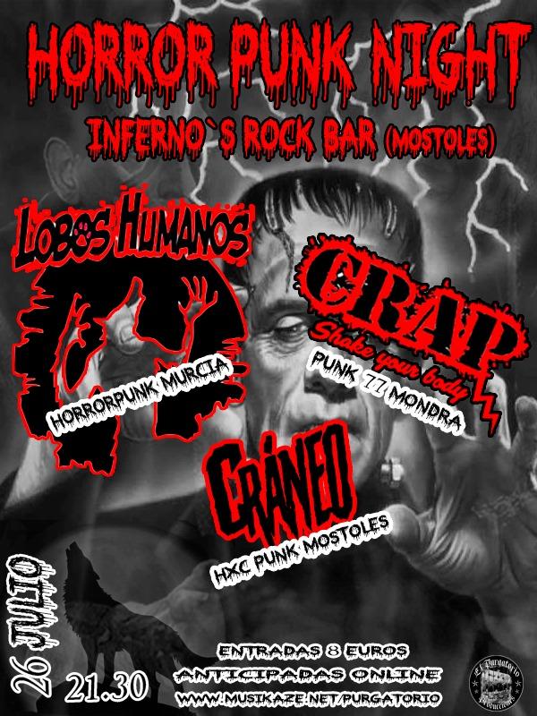Cartel del concierto de Lobos Humanos + Crap + Cráneo @ Sala Inferno's, Móstoles, el viernes 26 de julio de 2019