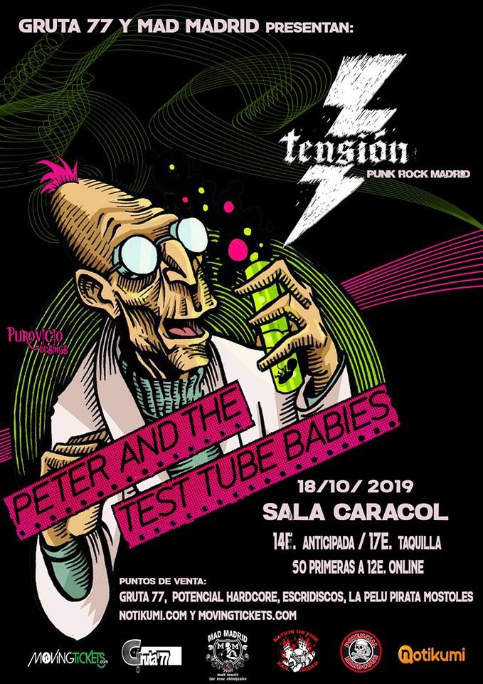Cartel del concierto de Peter and The Test Tube Babies @ Sala Caracol, Madrid, el viernes 18 de octubre de 2019