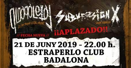 Cartel del concierto de Subversión X + Qloaqa Letal @ Estraperlo Club, Badalona, el 21 de junio de 2019