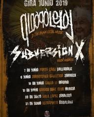 Cartel de la gira de Qloaqa Letal y Subversión X con conciertos en Valladolid, Bilbao, Madrid, Murcia, Zaragoza y Badalona en junio de 2019