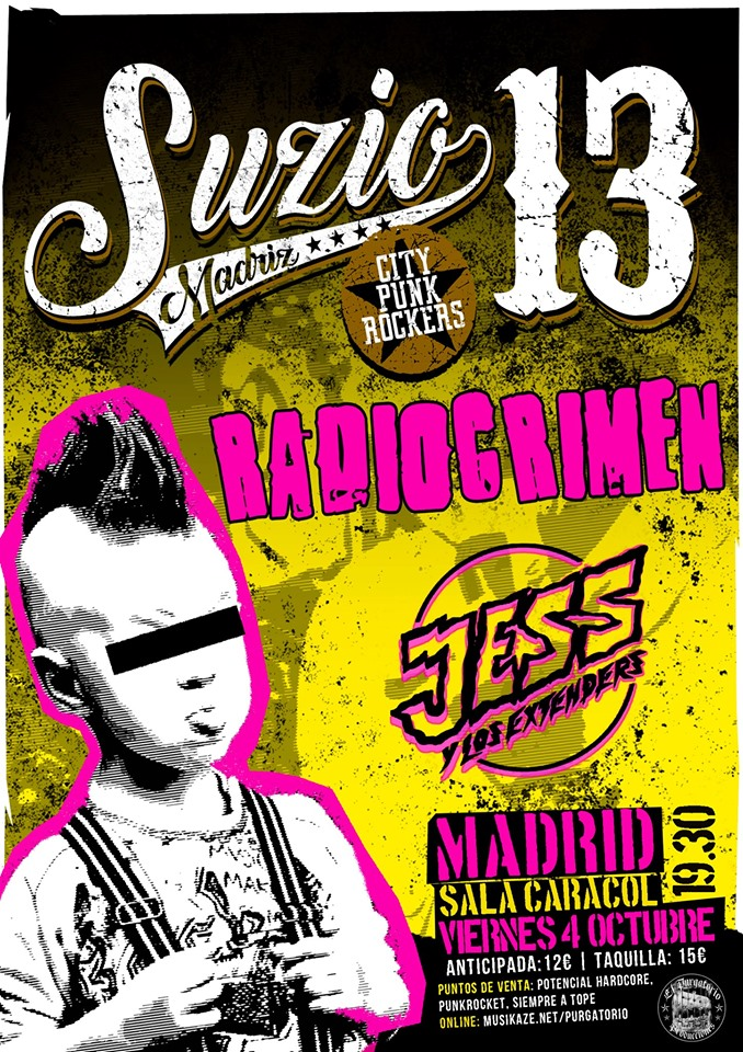 Concierto Suzio 13 + Radiocrimen + Jess y Los Extenders @ Sala Caracol, Madrid, el viernes 4 de octubre de 2019