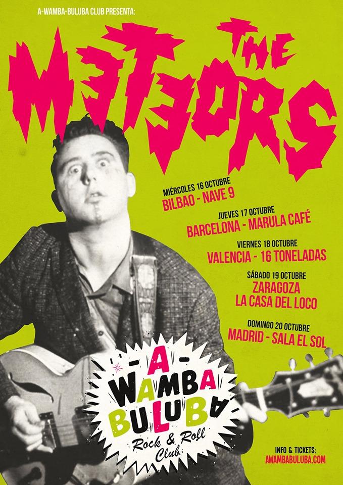 Cartel de la gira 40º aniversario de The Meteors con conciertos en Bilbao, Barcelona, Valencia, Zaragoza y Madrid en octubre de 2019