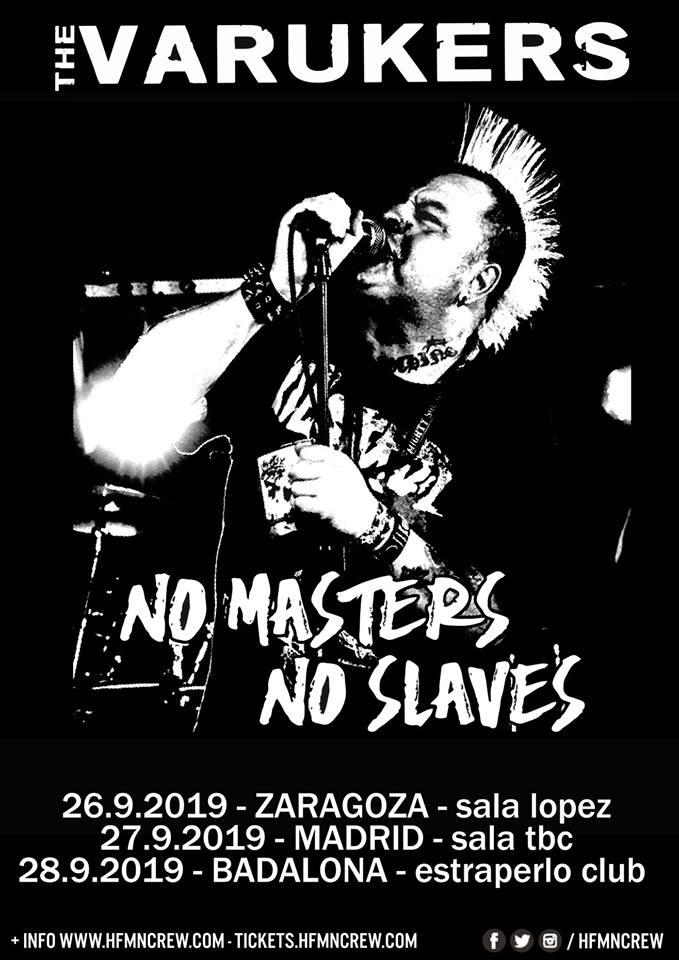 Gira de The Varukers en septiembre de 2019 con conciertos en Zaragoza, Madrid y Badalona