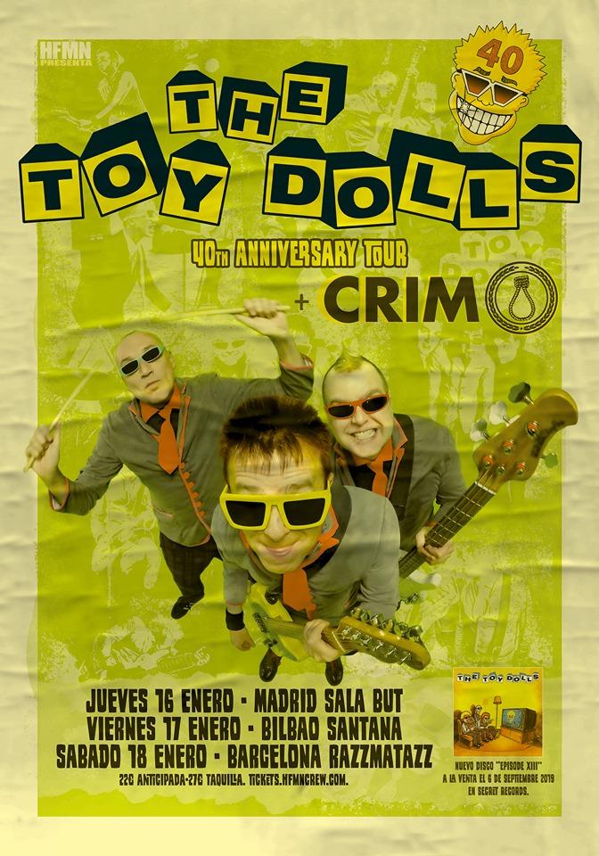 Cartel de la gira de The Toy Dolls + Crim con conciertos en Bilbao, Madrid y Barcelona en enero de 2020