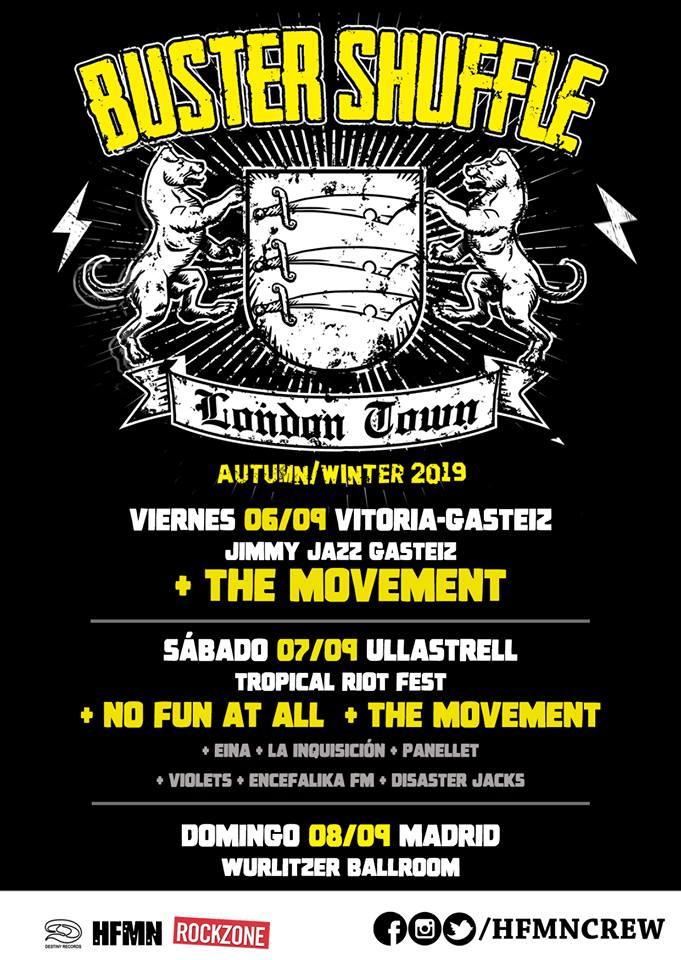 Conciertos de Buster Shuffle en Vitoria-Gasteiz, Tropical Riot Fest y Madrid en septiembre de 2109