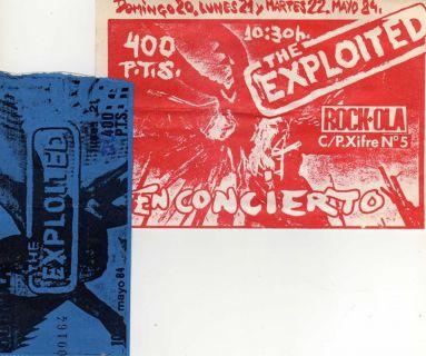 Cartel y entrada de uno de los conciertos de Exploited en Rockola, Madrid, en mayo de 1980