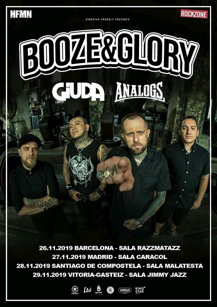 Cartel de la gira de Booze & Glory, Giuda y The Analogs con conciertos en Barcelona, Madrid, Santiago de Compostela y Vitoria-Gasteiz en noviembre de 2019
