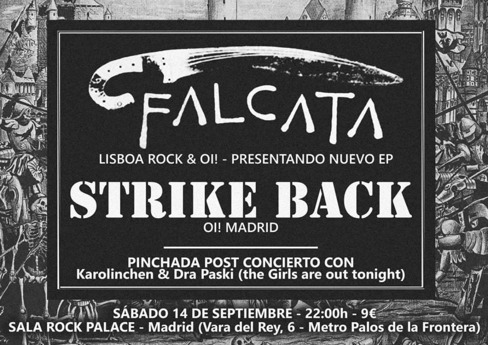 Cartel del concierto de Strike Back + Falcata @ Rock Palace, Madrid, el sábado 14 de mayo de 2019