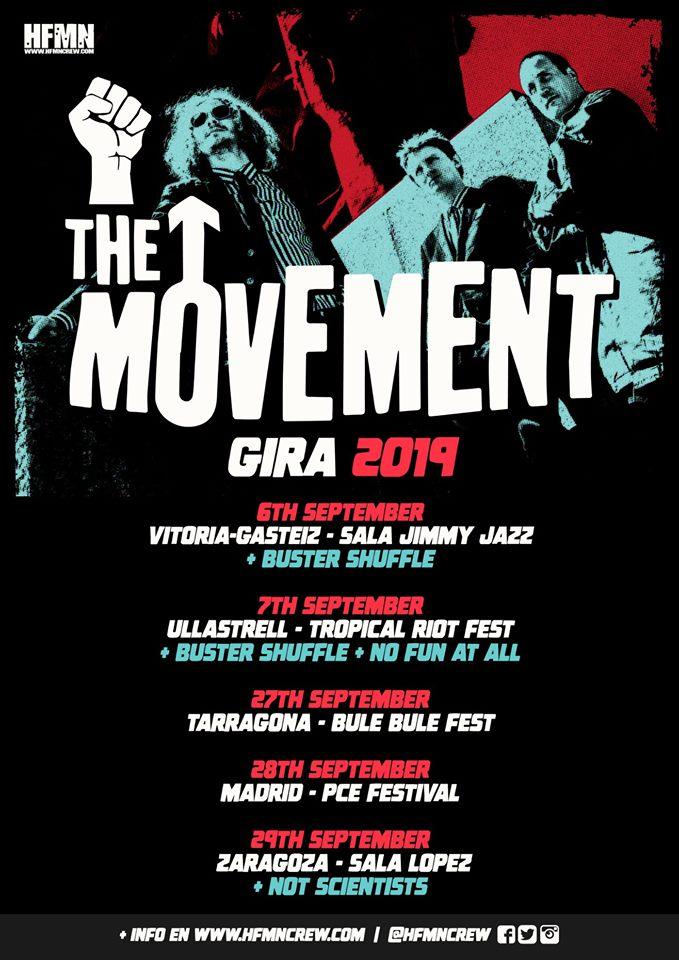 Cartel de la gira de The Movement con conciertos en Vitoria-Gasteiz, Tropical Riot Fest, Bule Bule Toga Fest, Madrid y Zaragoza en septiembre de 2019