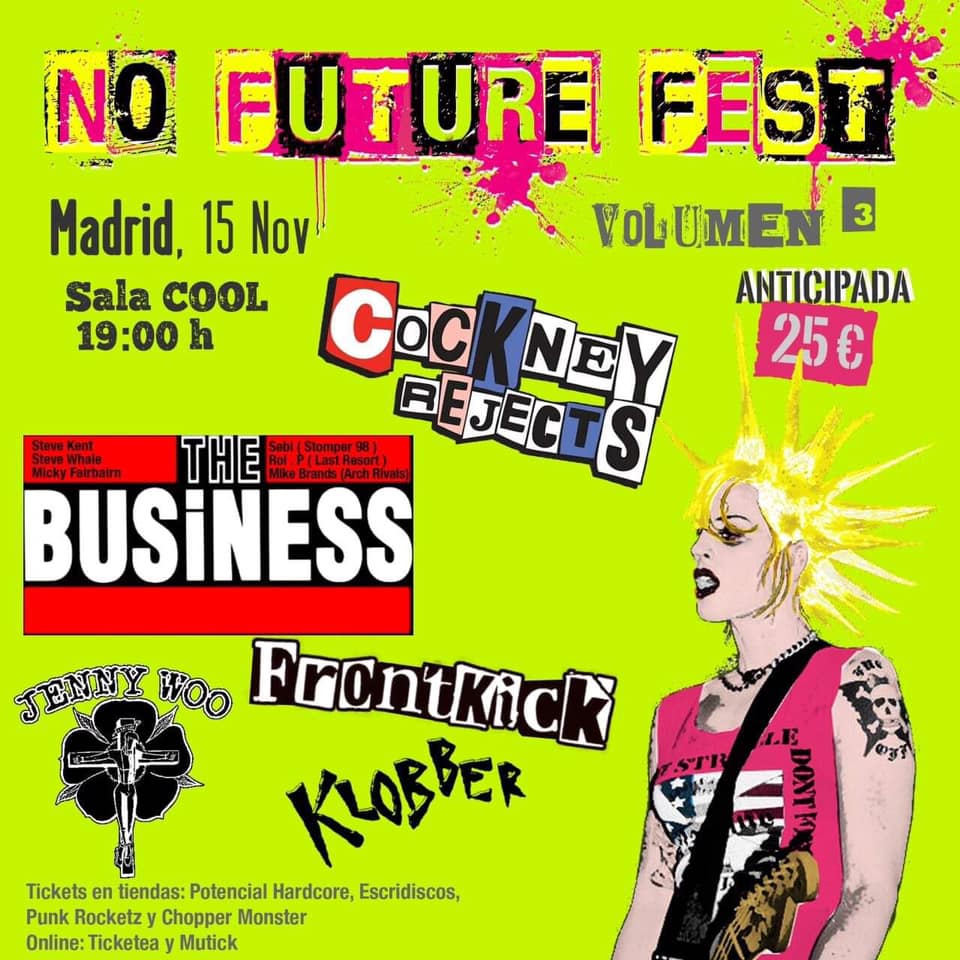 Cartel del concierto de Cockney Rejects + The Business + Frontkick + Jenny Woo + Klobber @ Sala Cool, Madrid, el sábado 15 de noviembre de 2019