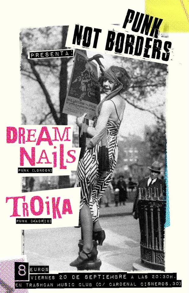 Cartel del concierto de Dream Nails + Troika @ Trash Can, Madrid, el viernes 20 de septiembre de 2019