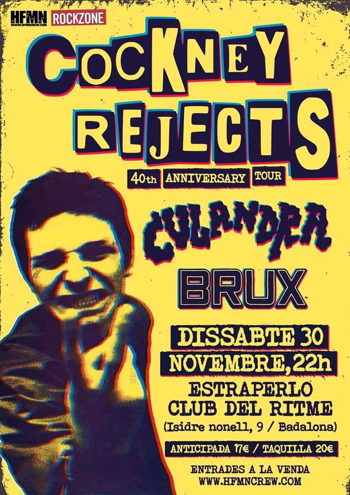 Entradas para el concierto de Cockney Rejects en el Estraperlo Club de Badalona el sábado 30 de noviembre