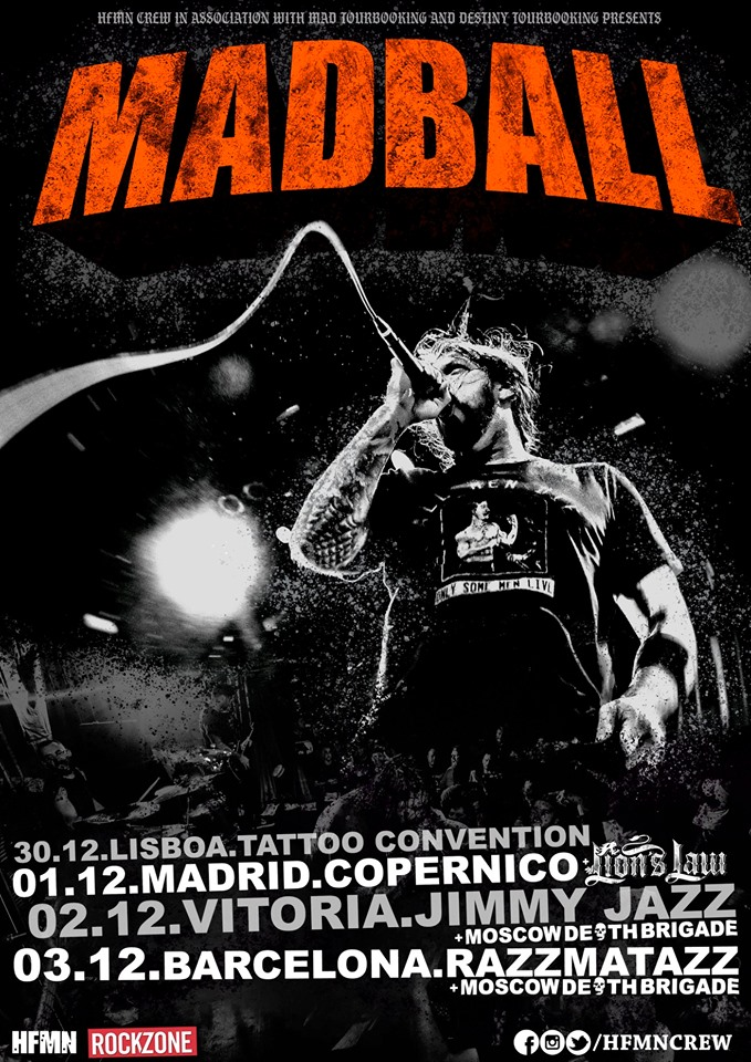 Cartel de la gira de Madball @ Lisboa, Madrid, Vitoria-Gasteiz y Barcelona