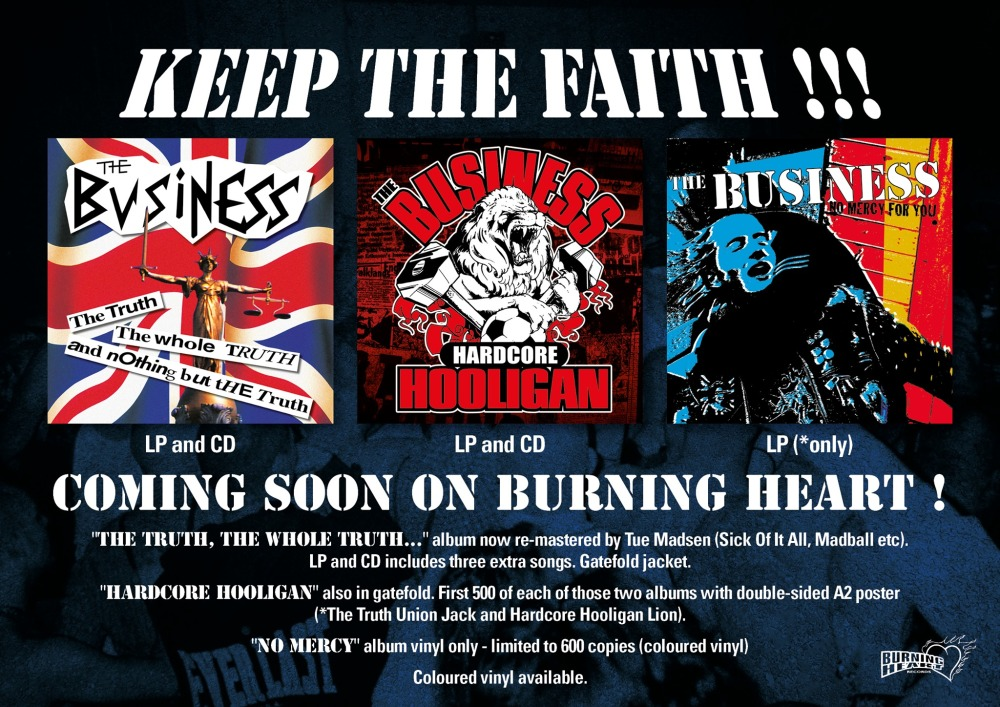 Burning Heart reeditada 'The Truth, The Whole Truth, and Nothing But The Truth', 'Hardcore Hooligan' y 'No Mercy' de The Business