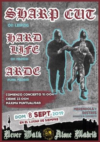 Cartel del concierto de Sharp Cut + Hard Life + Arde @ Madrid