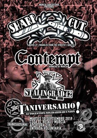 Cartel del concierto de Sharp Cut + Contempt + Stalingrad 42 @ Murcia