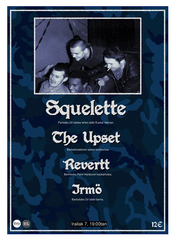 Cartel del concierto de Squelette + The Upset + Revertt + Irmö @ Doka Kafe Antozkia, Donostia, el sábado, 7 de septiembre de 2019