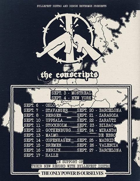 Cartel de la gira europea de The Conscripts (septiembre 2019)
