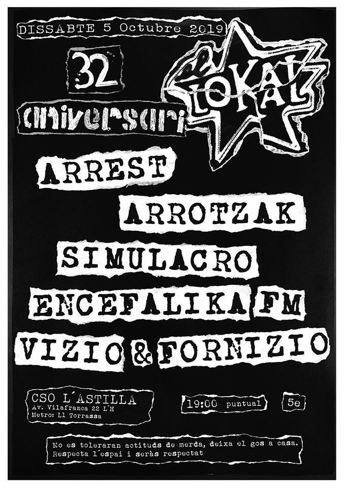 Cartel del concierto 32º aniversario de El Lokal con Arrest, Arrotzak, Simulacro, Encefalika FM y Vizio & Fornizio