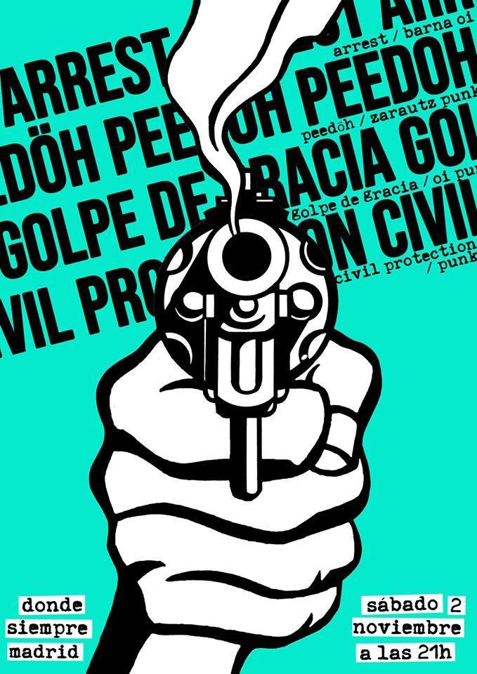 Concierto de Arrest + Peedöh + Golpe de Gracia + Civil Protection @ Madrid, el sábado 2 de noviembre de 2019