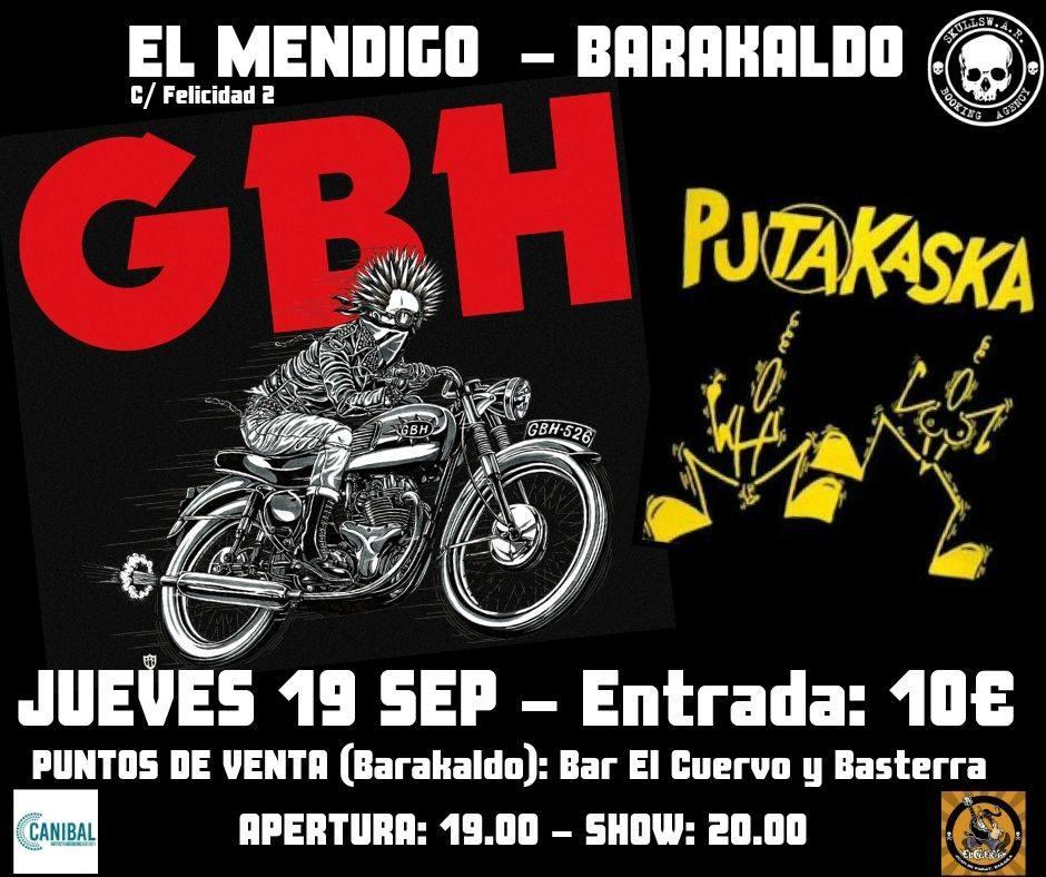 Concierto de G.B.H. + Putakaska @ El Mendigo, Barakaldo, el jueves 19 de septiembre de 2019