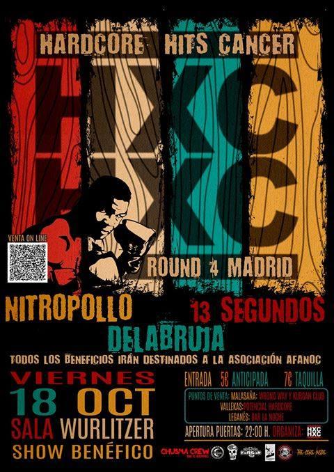 Concierto de Hardcore Hits Cancer en Wurlitzer Ballroom, Madrid, el viernes 18 de octubre de 2019 con Nitropollo + Delabruja + 13 Segundos