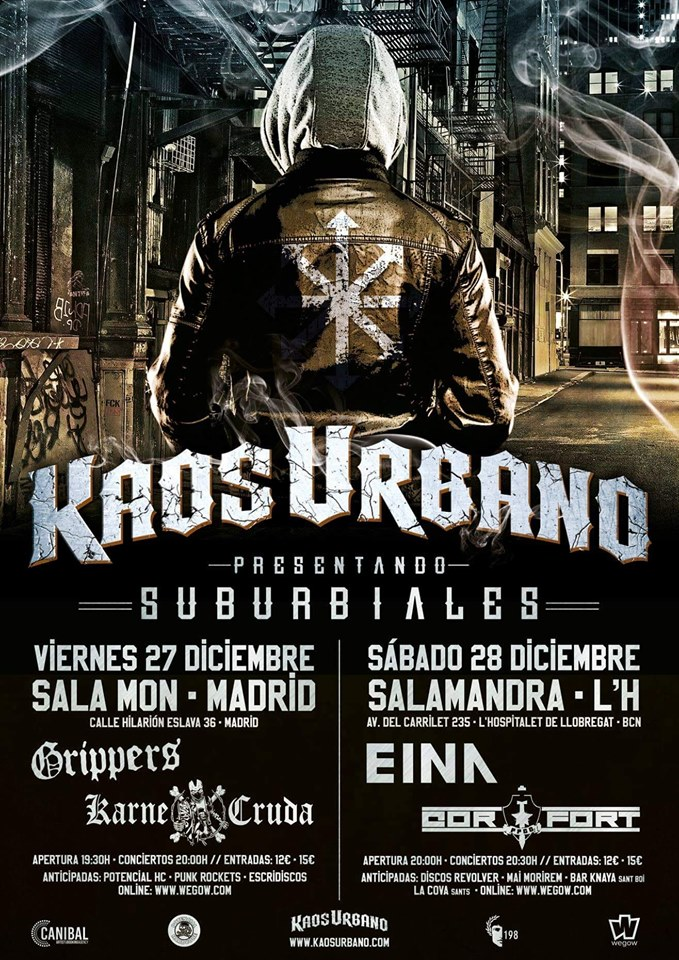Cartel de los conciertos de Kaos Urbano en Madrid y Barcelona durante diciembre de 2019