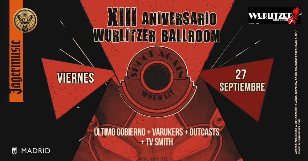 Cartel del concierto de The Outcasts + Varukers + TV Smith + Último Gobierno @ Wurlitzer Ballroom, Madrid, el sábado 27 de septiembre de 2019