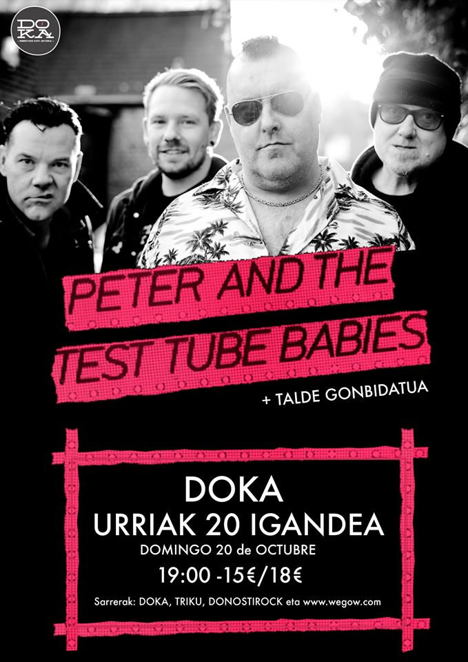 Cartel del concierto de Peter and The Test Tube Babies @ Doka Kafe Antzokia, Donostia, el domingo 20 de octubre de 2019