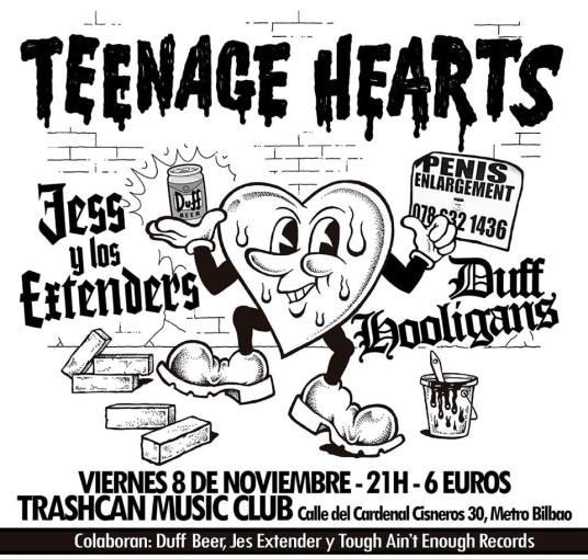 Concierto de Teenage Hearts + Jess y Los Extenders + Duff Hooligans @ Trash Can, Madrid, el viernes 8 de noviembre de 2019