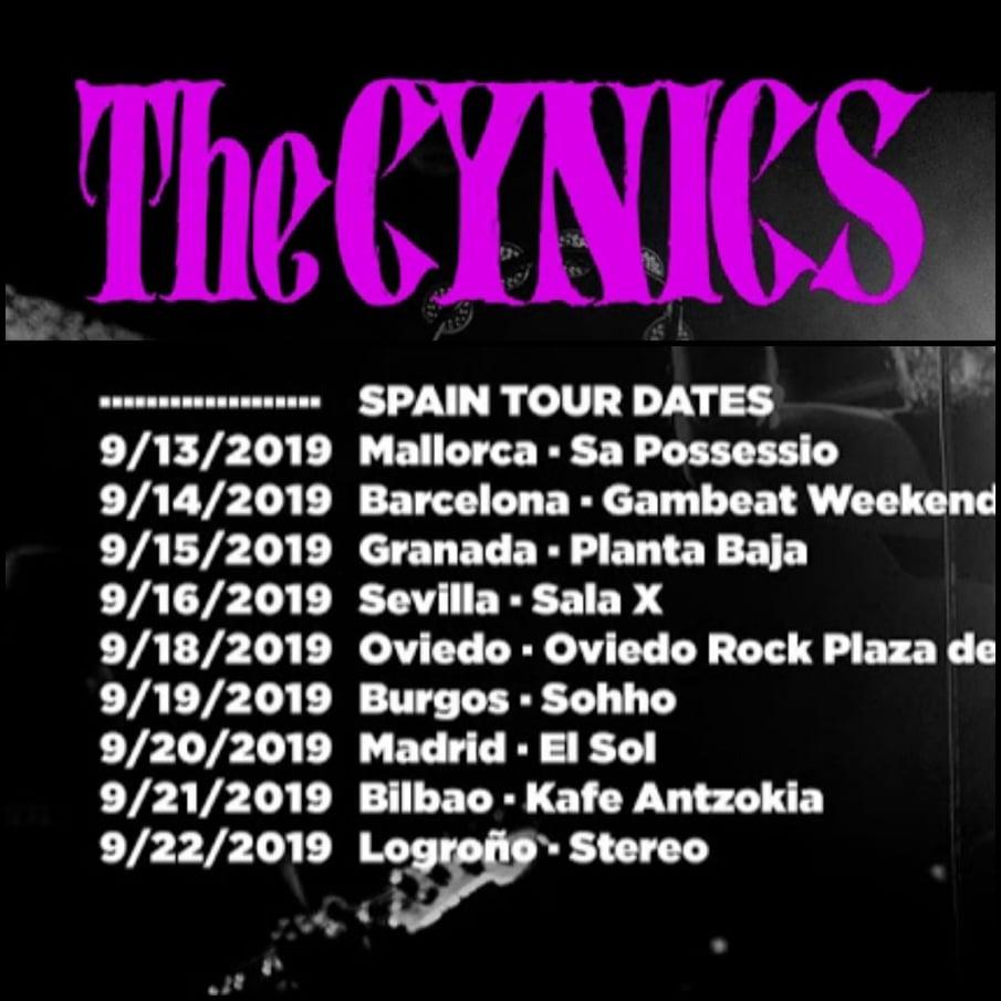 Fechas de la gira por España de The Cynics en septiembre de 2019 con conciertos en Palma de Mallorca, Barcelona, Granada, Sevilla, Oviedo, Burgos, Bilbao, Madrid y Logroño