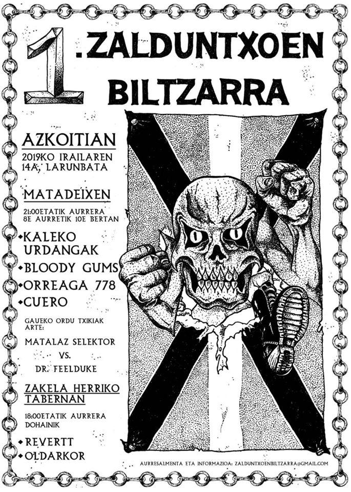 Zalduntxoen Biltzarra @ Azkoitia el sábado 14 de septiembre con Kaleko Urdangak, Bloody Gums, Orreaga 778, Cuero, Revertt y Oldarkor