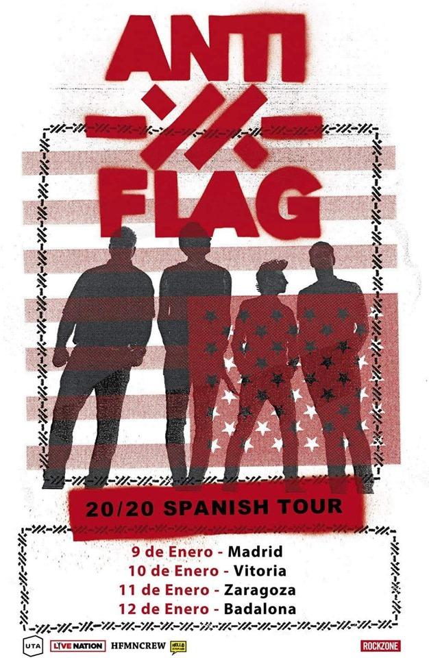 Gira de Anti-Flag en enero de 2020 con conciertos en Madrid, Vitoria-Gasteiz, Zaragoza y Badalona